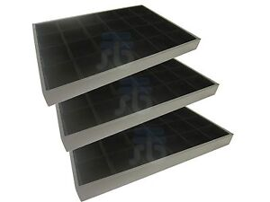 Black Velvet 24 Compartments Grids Jewelry Display Tray Case Wholesale Lot Of 3