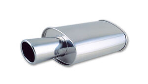 1046 Vibrant Streetpower Oval Muffler W 4 Round Angle Cut Tip 2 5 In Inlet