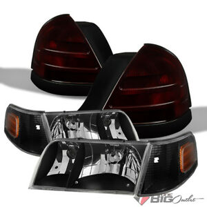 For 99 11 Crown Victoria Black Headlights Tinted Smoke Red Tail Lights Combo
