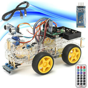 1 Set 4wd Smart Robot Car Starter Kit Bluetooth Line Tracking For Arduino Uno R3