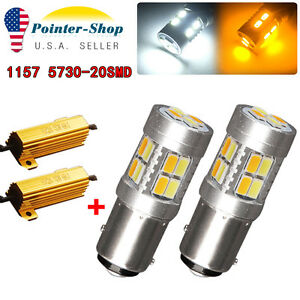 2x White Amber Switchback 1157 7528 20 Smd Tail Stop Led Light Bulbs Resistors