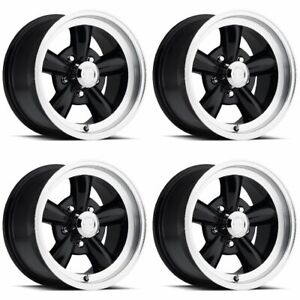 Set 4 17 Vision 141 Legend 5 Black Machined Rims 17x8 5x4 75 Chevy Buick 5 Lug