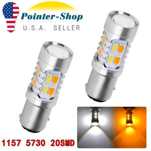 2x White Amber 1157 5730 20 Smd Switchback Led Light Bulbs Tail Brake 1142 7528