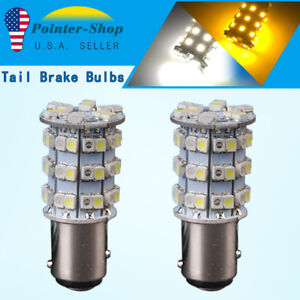 2x White Amber Switchback 1157 Bay15d 60 Smd Led Lamps Tail Brake Stop 2057 7528