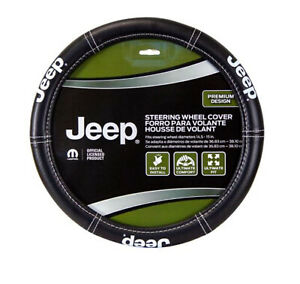 New Black Jeep Elite Series Synthetic Leather Car Truck Steering Wheel Cover
