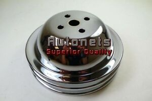 Chrome Big Block Chevy 396 454 Short Water Pump Pulley 2 Groove Hot Rod Bbc Swp