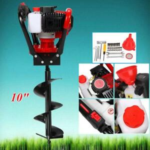 56cc Power Engine 2 3hp Gas Powered Post Fence Hole Digger 10 Auger Drill Bits