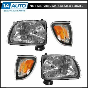 Headlight Parking Light Lamp Lh Rh 4 Piece Kit Silver For 01 04 Tacoma Truck New