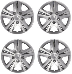 16 Inch Wheel Covers Set Universal Silver Rim Hubcaps W chrome Bolt Nuts