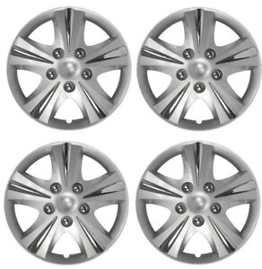 14 Inch Wheel Cover Set Universal Car Silver Rim Hubcaps W Chrome Bolt Nuts