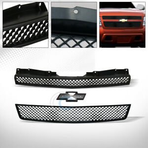 Fit 07 14 Chevy Tahoe suburban avalanche Glossy Blk Mesh Front Bumper Grille 2pc