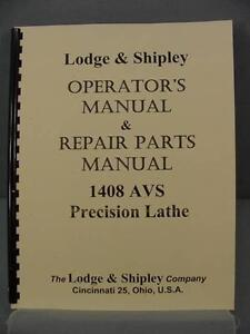 Lodge Shipley 1408 Avs Lathes Operator s Repair Parts Manual
