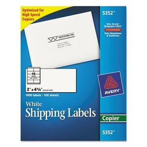 Avery 5352 Self adhesive Shipping Labels For Copiers 2 X 4 1 4 White 1000 box