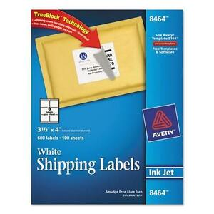 Avery 8464 Shipping Labels With Trueblock Technology 3 1 3 X 4 White 600 box