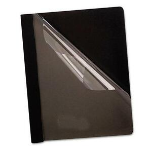 Oxford 58806 Premium Paper Clear Front Cover 3 Fasteners Letter Black 25 box