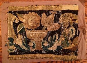 Antique Pair 18th Century Tapestry Fragments Belgian Vojtech Blau Collection