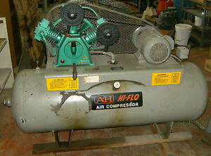 A H Air Compressor Model Ahfs B2 8h 5 H p Tank 80 Gallons