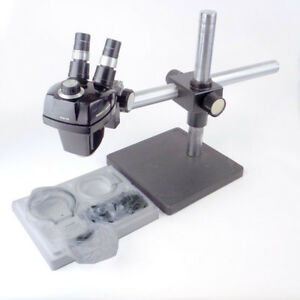 Bausch Lomb Sz4 Stereozoom 4 Microscope W Boom Stand New Amscope Ring Light