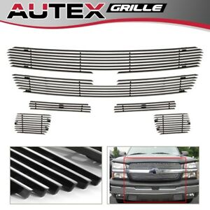 6 Alum Billet Grille Combo For 03 05 Chevy Silverado 1500 3500 03 06 Avalanche