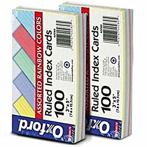 Oxford 40280 Ruled Index Cards 3 X 5 Assorted Colors 100 Counts pack 2 Packs