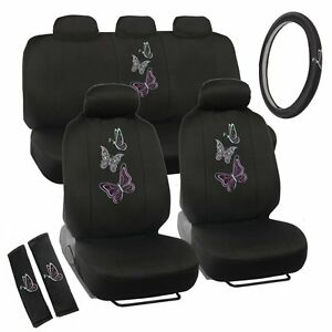 New Neon Green Purple Butterfly Butterflies Car Front Back Full Seat Covers