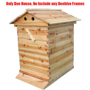 Wooden Super Beekeeping Brood Box House For 7 Auto Honey Bee Hive Frames