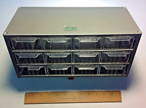 New Akro mils Cabinet Model J 12 Metal Cabinet W 12 Drawers Usa Made