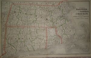 Vintage 1887 Massachusetts Connecticut Ri Map Old Antique Original 87 072317