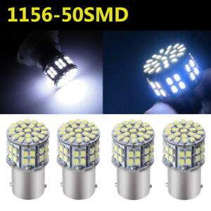 4x 1156 Ba15s 50 Smd Car Backup Rv Tail Led Light Bulb 1141 1073 1003 Cool White