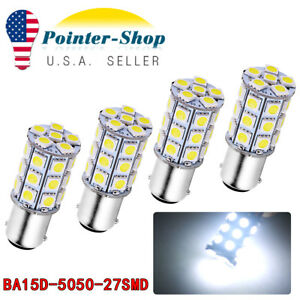 4x White 27 Smd Ba15d Cabin Marine Boat Led Interior Lights Bulbs 1004 1076 1142