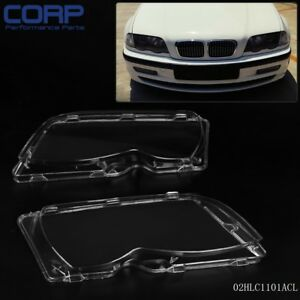1 Pair L R Headlight Headlamp Lense Lens Cover For Bmw E46 3 Series 4dr 02 05