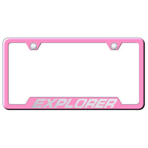 Ford Explorer On Pink Cut out License Plate Frame Officially Licensed