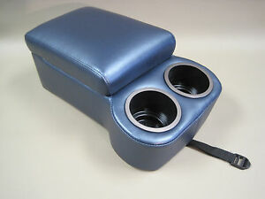 Metallic Dark Blue Bench Seat Console With Flip Up Armrest And Cup Holders