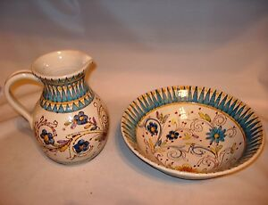 Excellent Porcelain Pitcher And Wash Basin Bowl Made In Italy Kc 37a