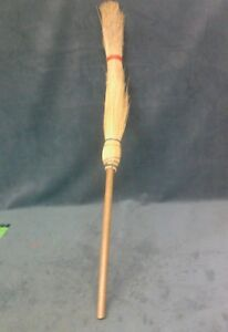 Vintage Whisk Hearth Golden Straw Wood Handle Witch Style Broom 45 5