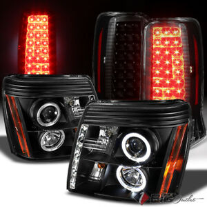 For 02 06 Escalade Black Halo Drl Led Projector Headlights Led Tail Lights