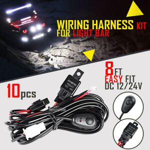 10x 8ft 40a 12v Power Switch Relay Wiring Harness Kit For Led Light Bar Offroad