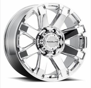 20x9 Raceline Throttle 5x150 5x139 7 Et20 Chrome Wheels set Of 4