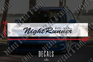 Night Runner Japanese Sun Strip Visor Windshield Banner Decal Sticker Jdm