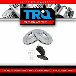 Trq Front Metallic Brake Pads Performance Drilled Slotted Coated Rotors