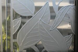 Set 4 Art Deco Thick Artisan Cut Glass Frosted Cut Foliage Thick Panels