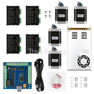 Us Ship Cnc 4 axis Kit With Tb6600 Motor Driver Usb Breakout Board Nema23 Motor