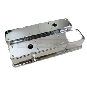 Chrome Small Block Chevy 2 Piece Removable Top Tall Valve Cover 327 350 383 400