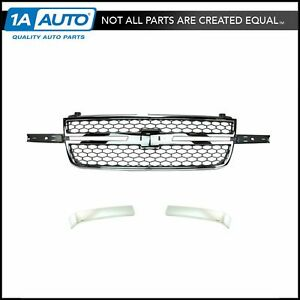 Front Chrome Gray Grille With Molding Trim For Chevy Silverado Truck Pickup