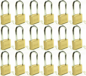 Lock Brass Master Combination 175lh lot Of 18 Long Shackle Resettable Secure