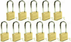 Master Lock 175lh lot Of 11 Brass Resettable Combination 4 Dial Long Shackle