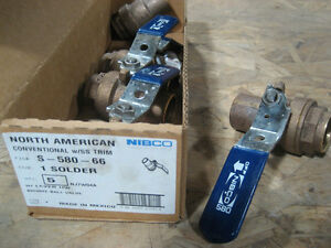 1 Nibco s 580 66 Bronze Solder Conventional Ball Valve Ss Trim lot Of 5