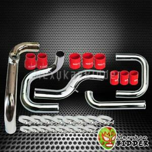Fmic Chrome Intercooler Piping Red Coupler Ssqv Bov Flange Kit For Acura Integra