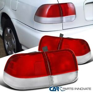 Fit Honda 96 98 Civic 4dr Sedan Tail Lights Brake Parking Rear Lamps Red Clear