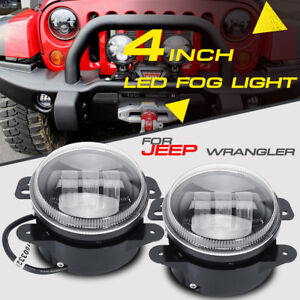 Pair 60w 4 Cree Led Fog Light Bulb Round Driving Lamps Drl Front Bumper Tractor